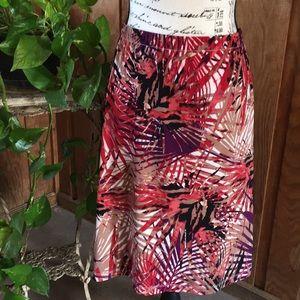 Abstract Leaf Print Skirt